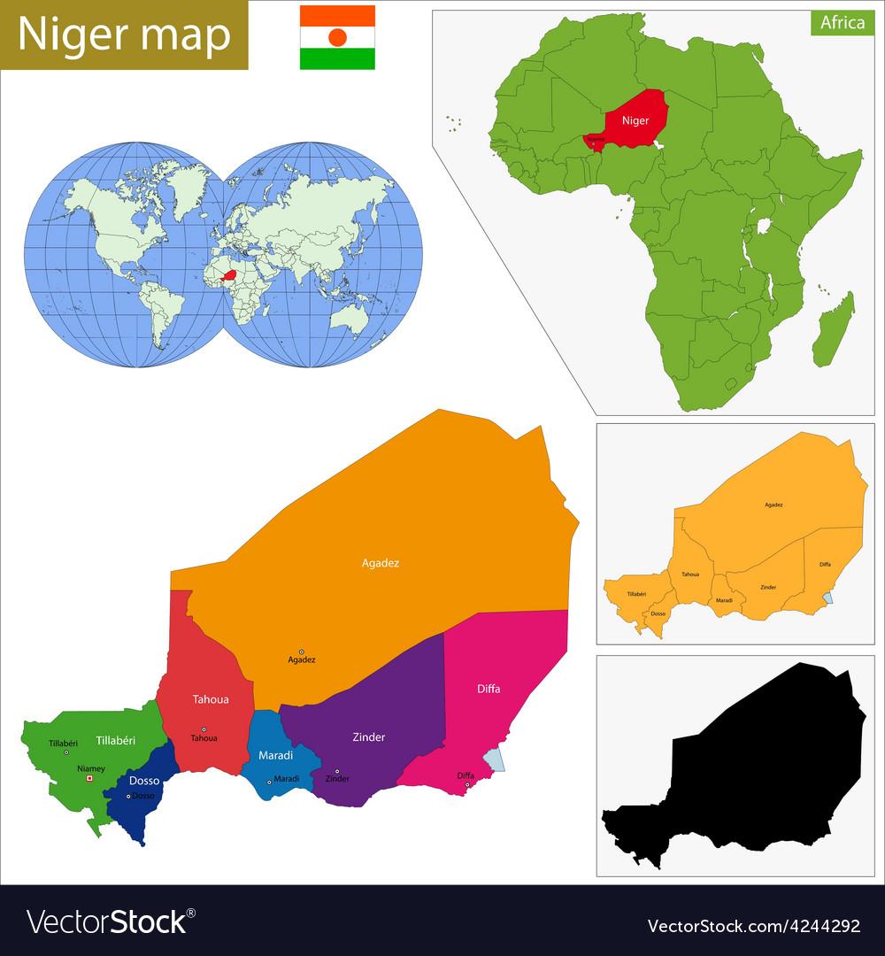 Niger map Royalty Free Vector Image - VectorStock
