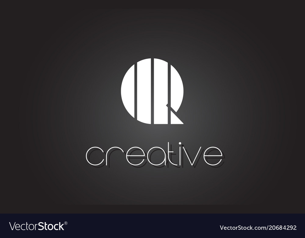 Q Letter Logo Design With White And Black Lines Vector Image