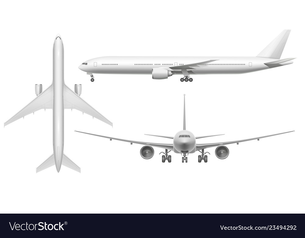 Realistic airplane aircraft plane view landing on