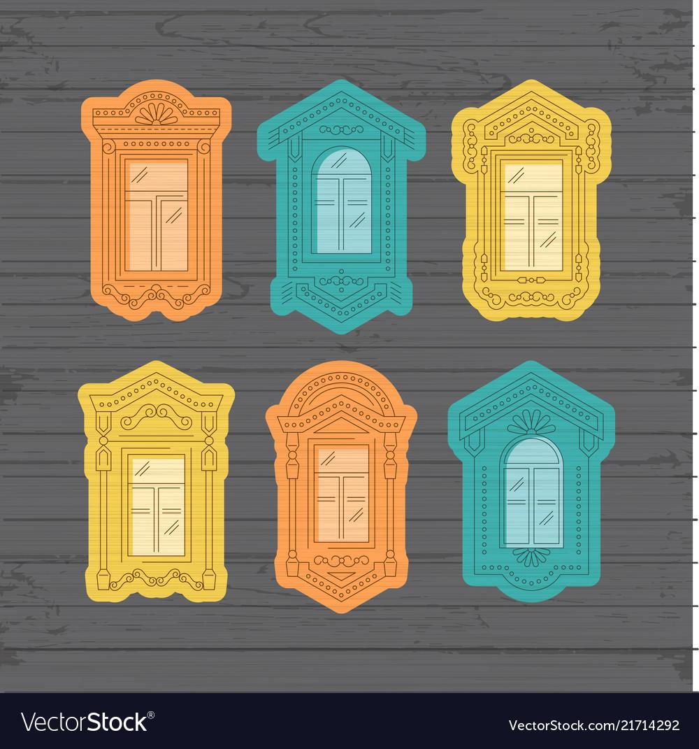 Retro window icon window vintage frames