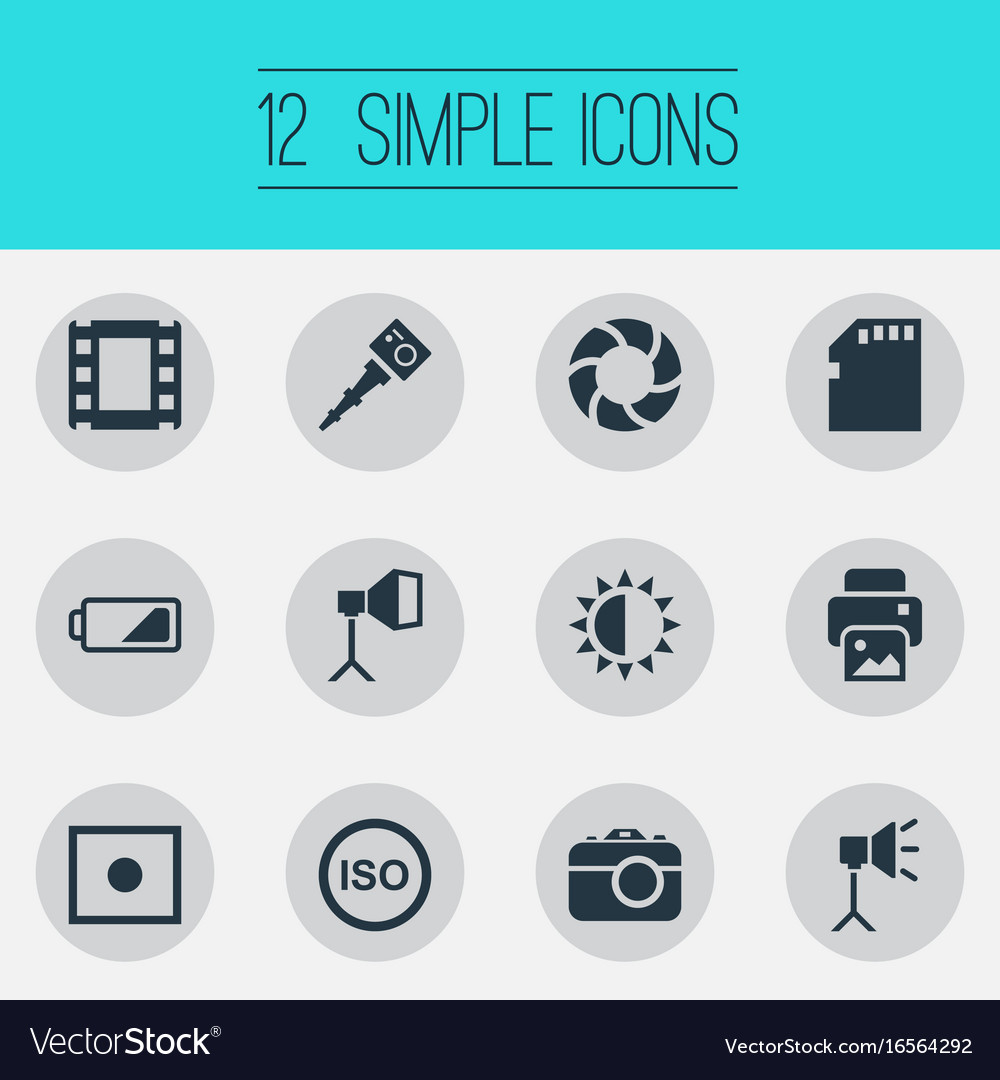 Set of simple photograph icons vector image