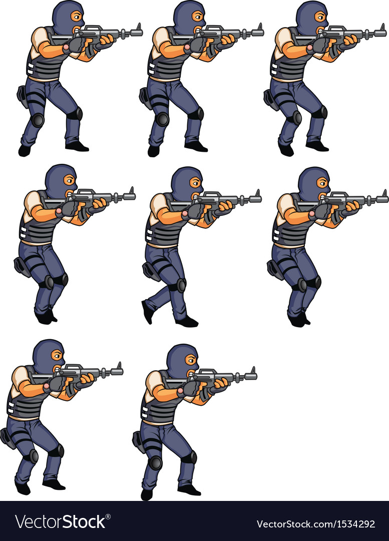 SWAT Officer Walking Animation Royalty Free Vector Image