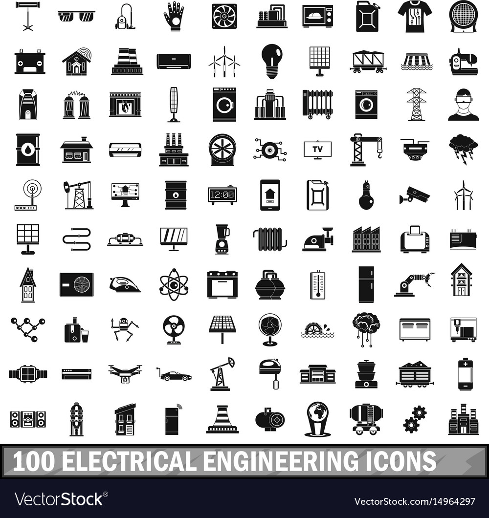 100 Electrical Engineering Icons Set Simple Style Vector Image