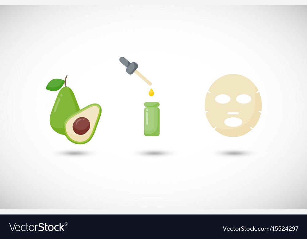 Avocado oil facial mask flat icons set