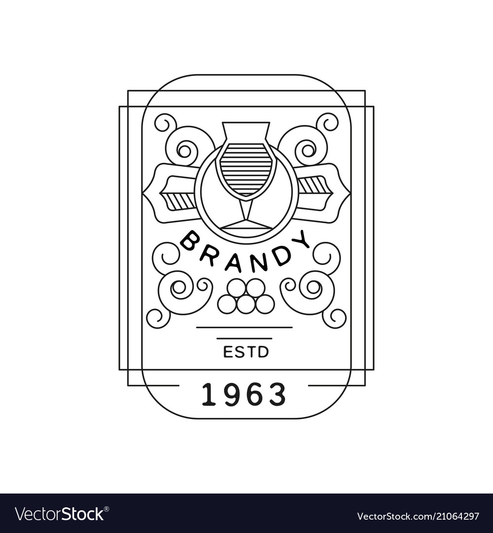 Brandy vintage label design strong drink emblem