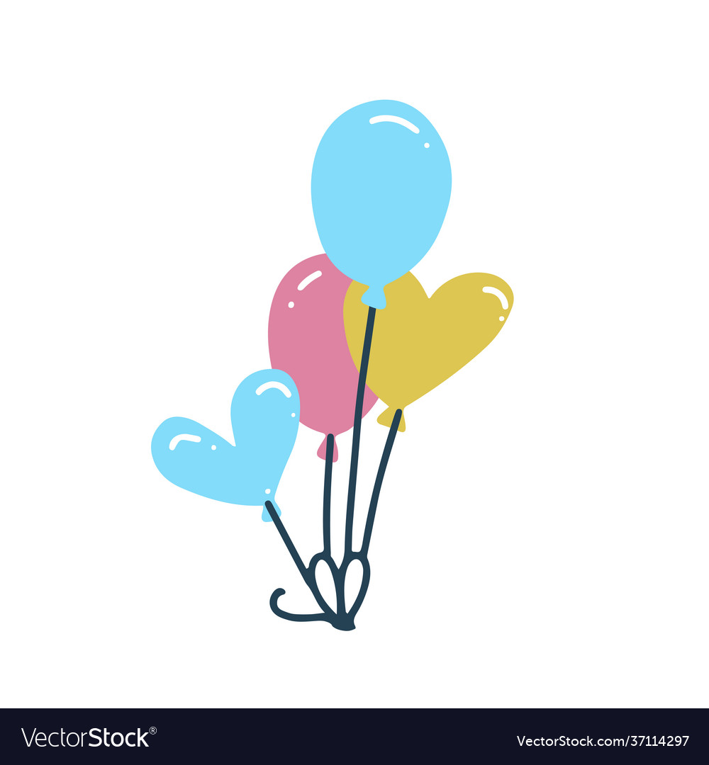 Bunch balloons in cartoon doodle hand drawn