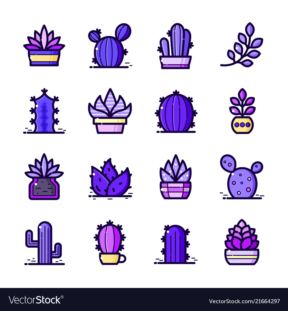 Cactuses icons set