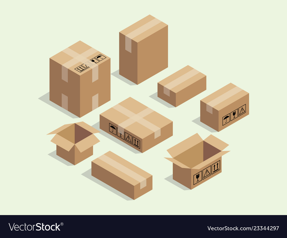 Cardboard isometric box for shipping packaging