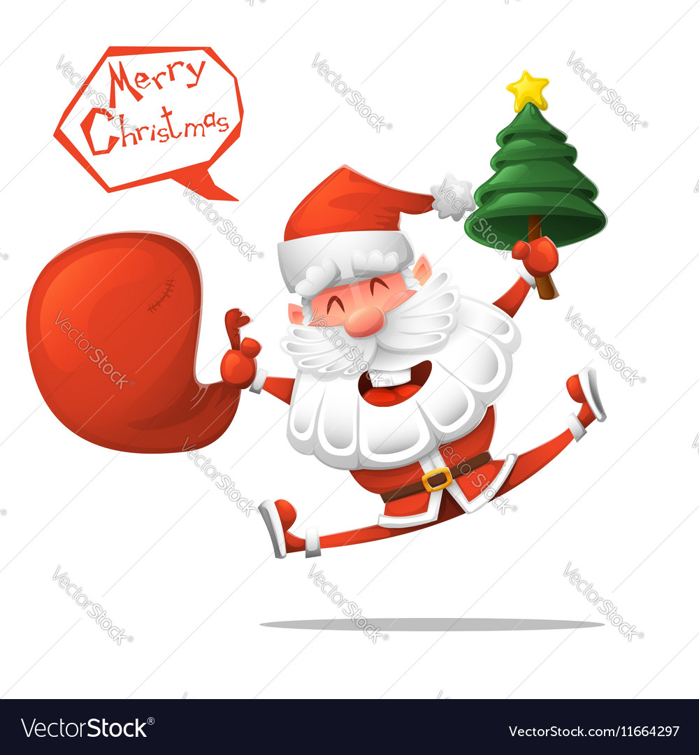 Cartoon Jolly Santa Claus with a Christmas tree