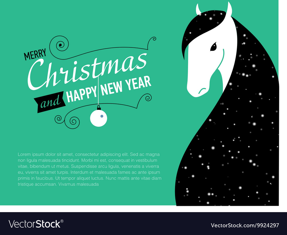 happy new year card for 2014 year of horse vector image