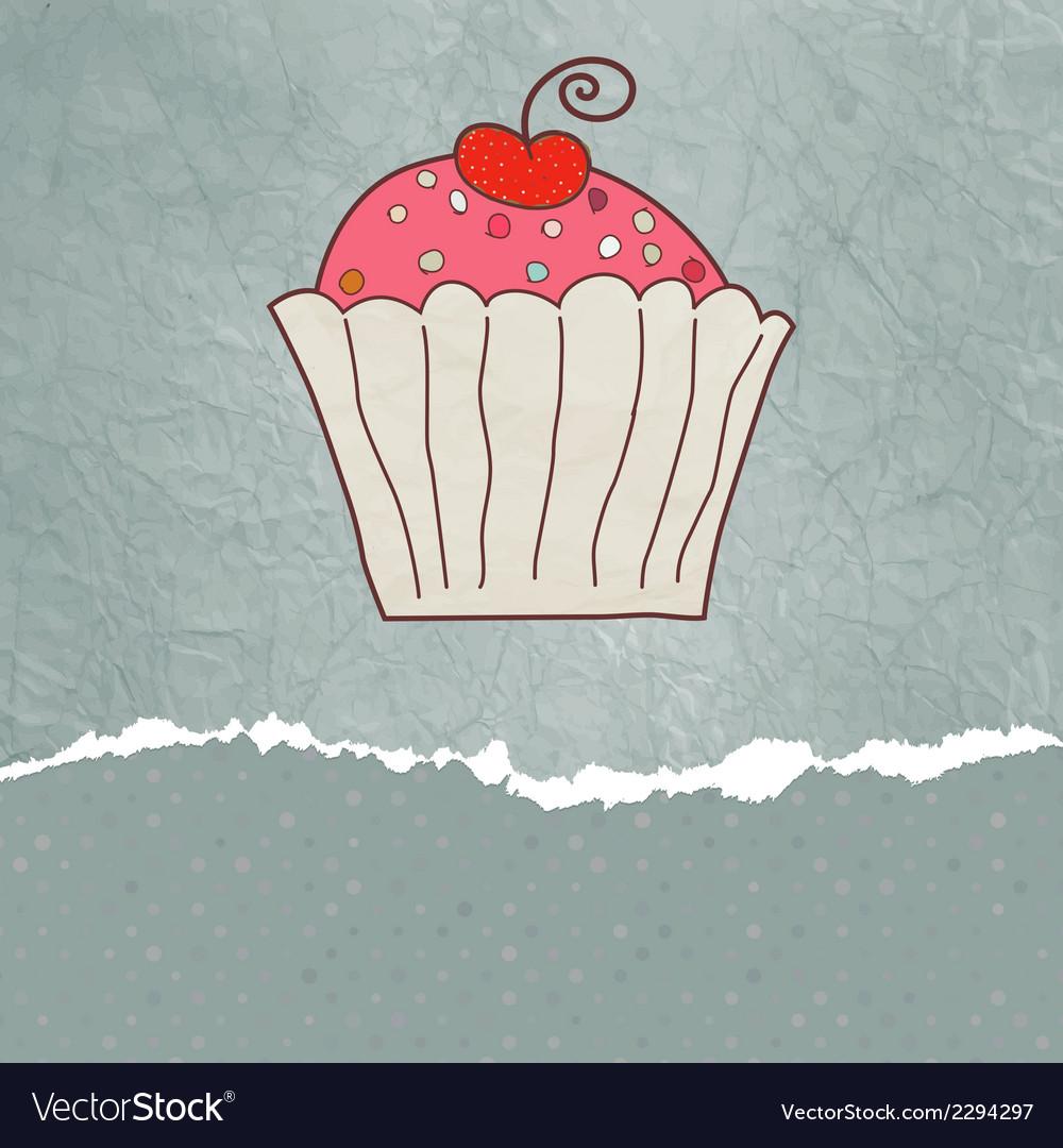 Retro valentine card with cupcake EPS 8