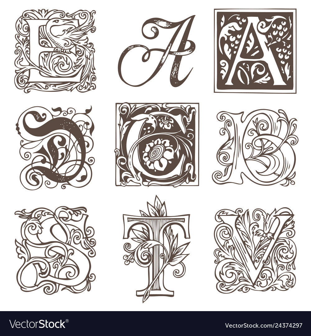 Set decorative hand drawn initial letters