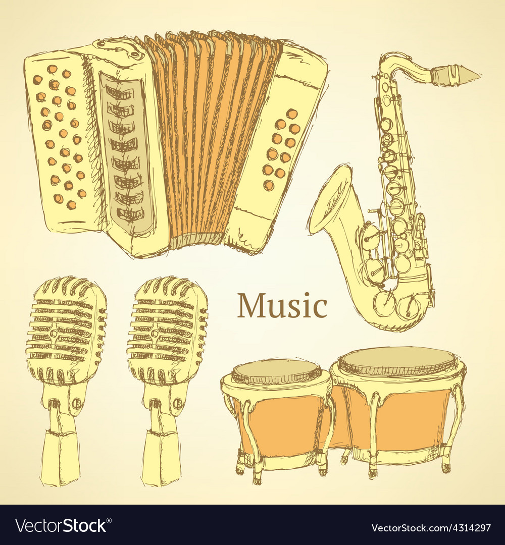 Sketch musical instrument in vintage style