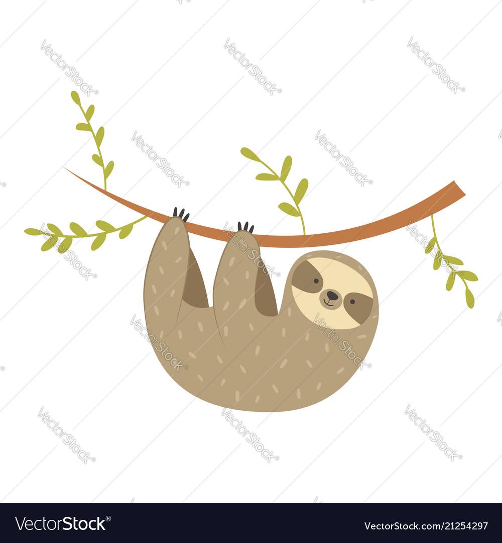 Sloth hanging on the tree adorable cartoon animal
