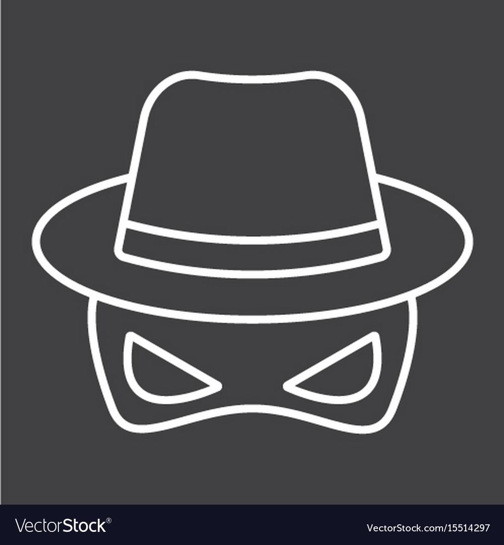 Spy line icon incognito and agent