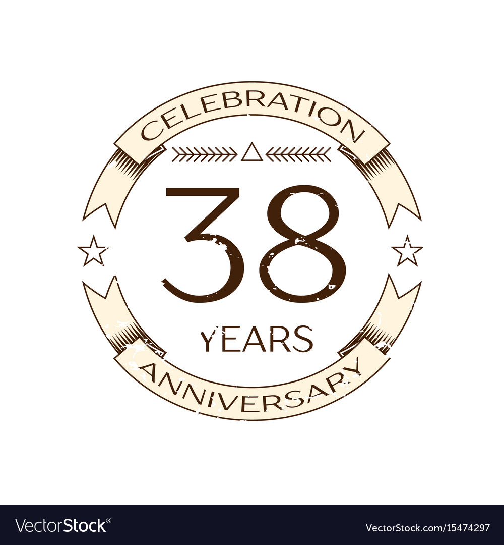 Thirty Eight Years Anniversary Celebration Logo Vector Image