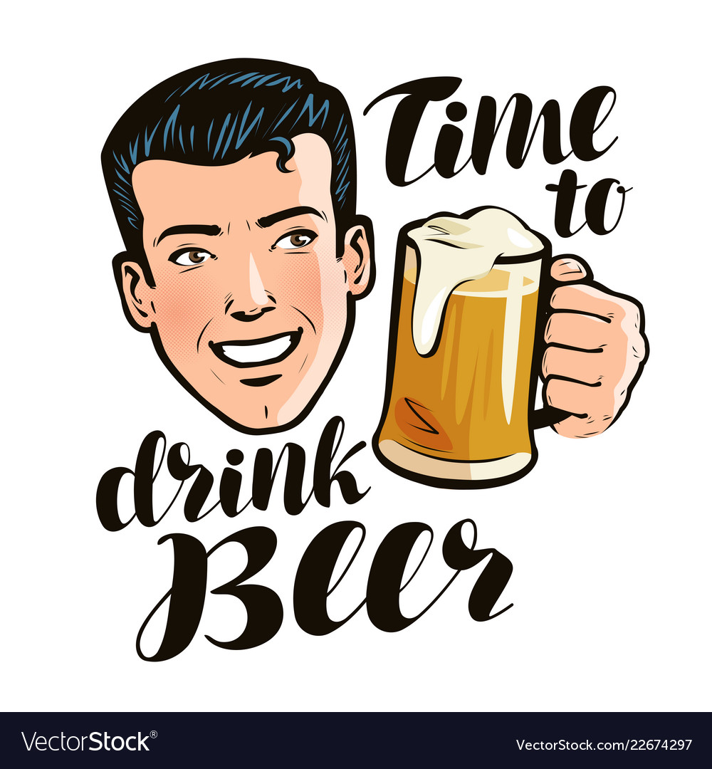 Time to drink beer poster alcohol pub concept
