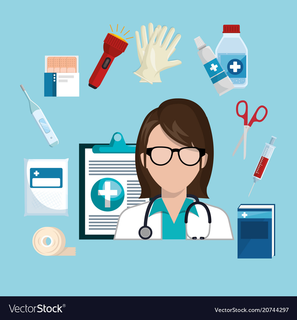 Woman doctor with medical services icons