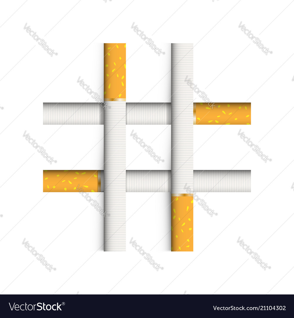 A lattice of four cigarettes a symbol of nicotine