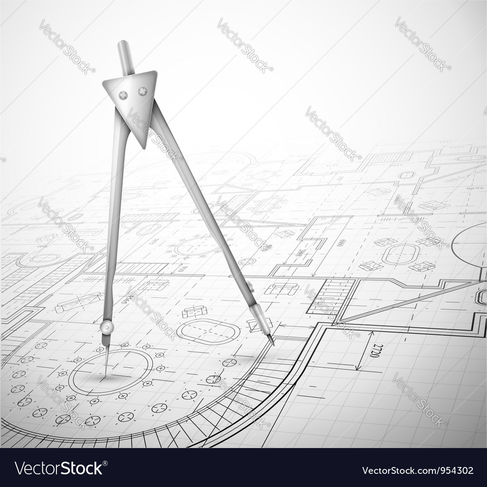 Architectural plan with compass