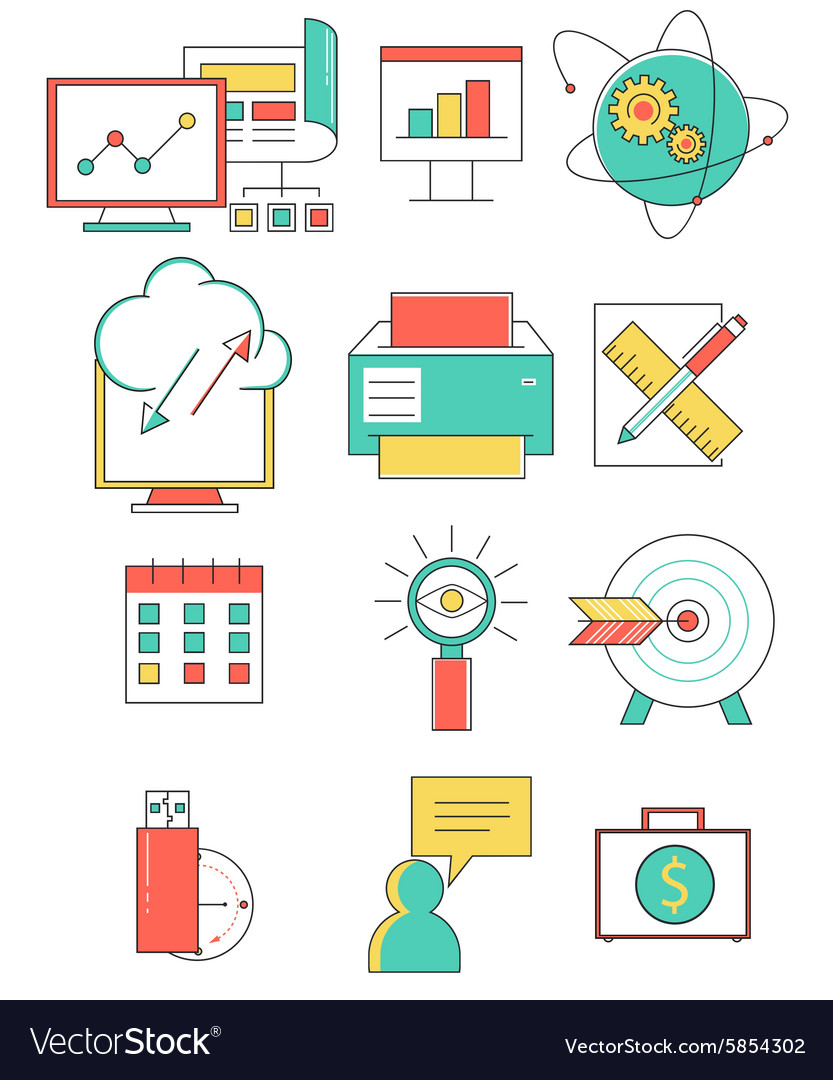 Business line icons set in flat design Web