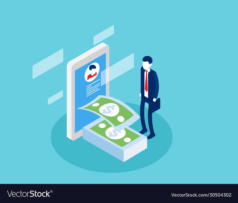 Businessman receiving money online transaction