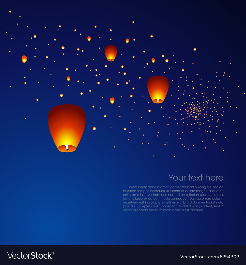 chinese sky lanterns in a dark night background vector image