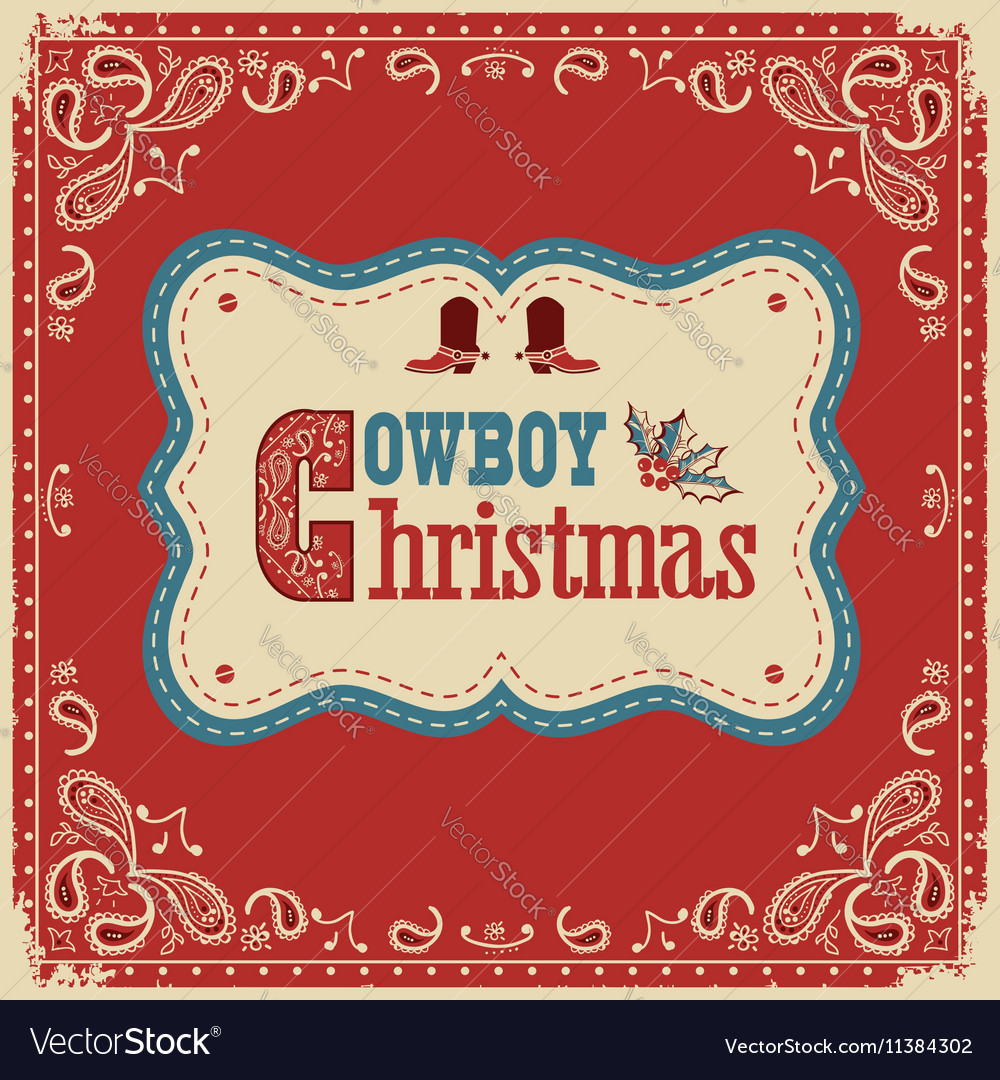 Cowboy christmas card with text on board