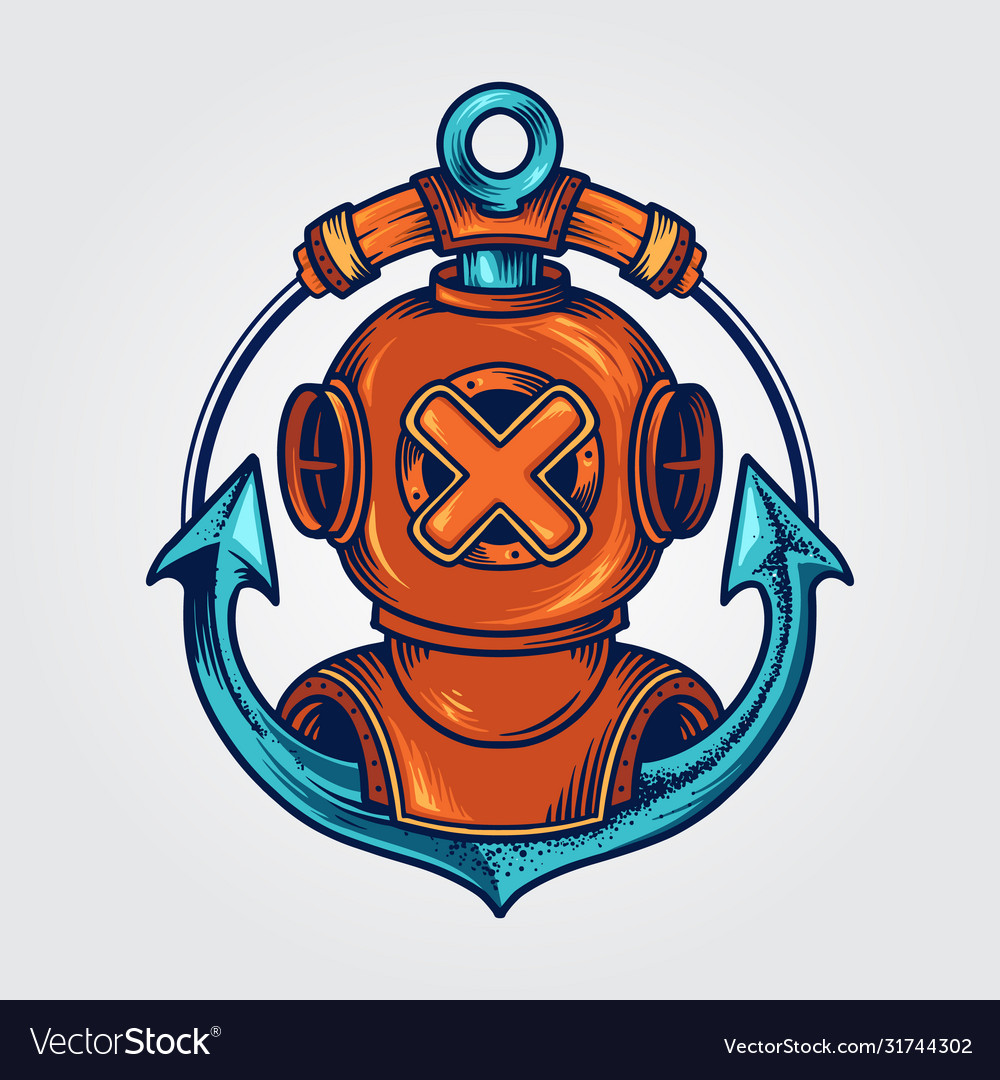 Divers helmet and anchor logo