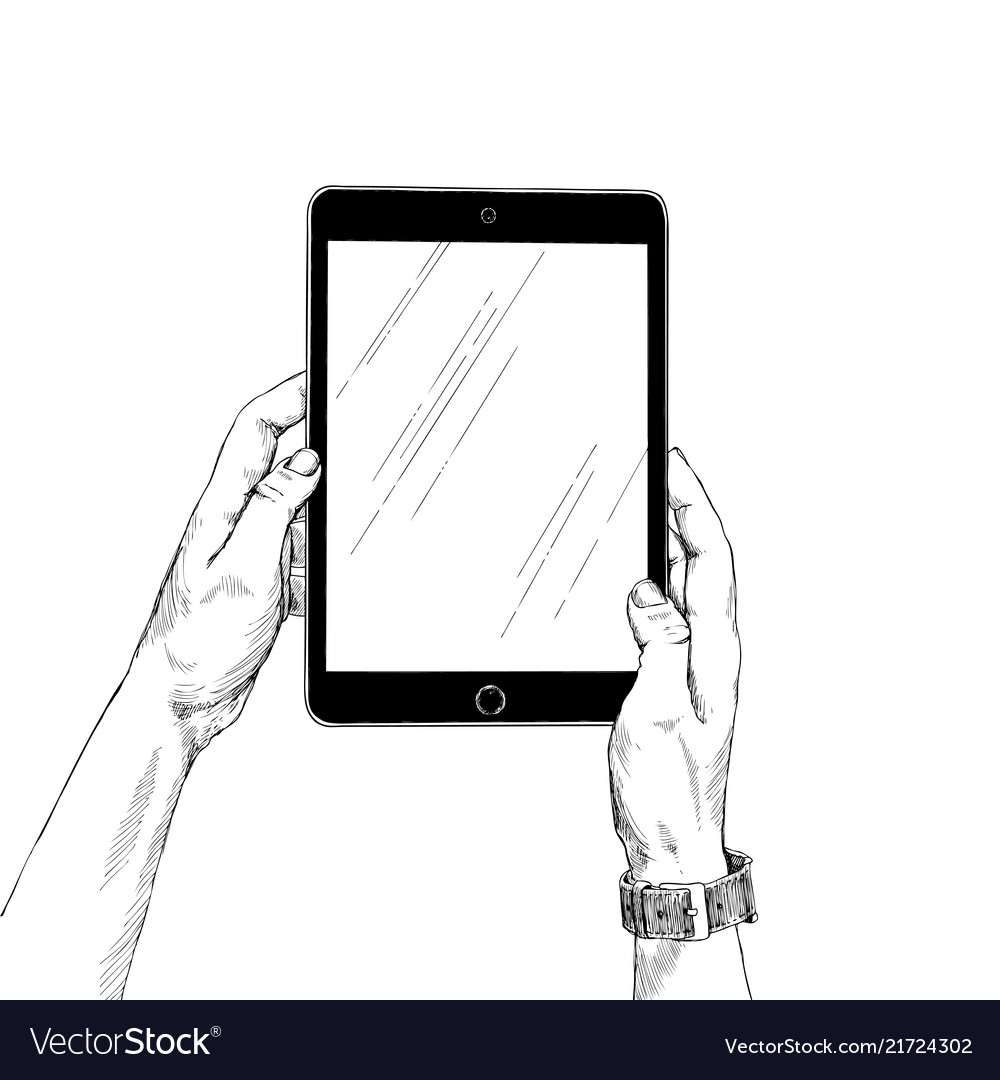 Female hands holding a tablet on white background