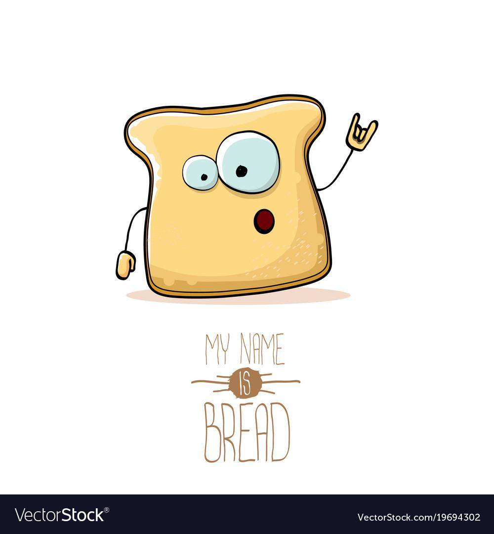 Funny cartoon cute sliced bread character