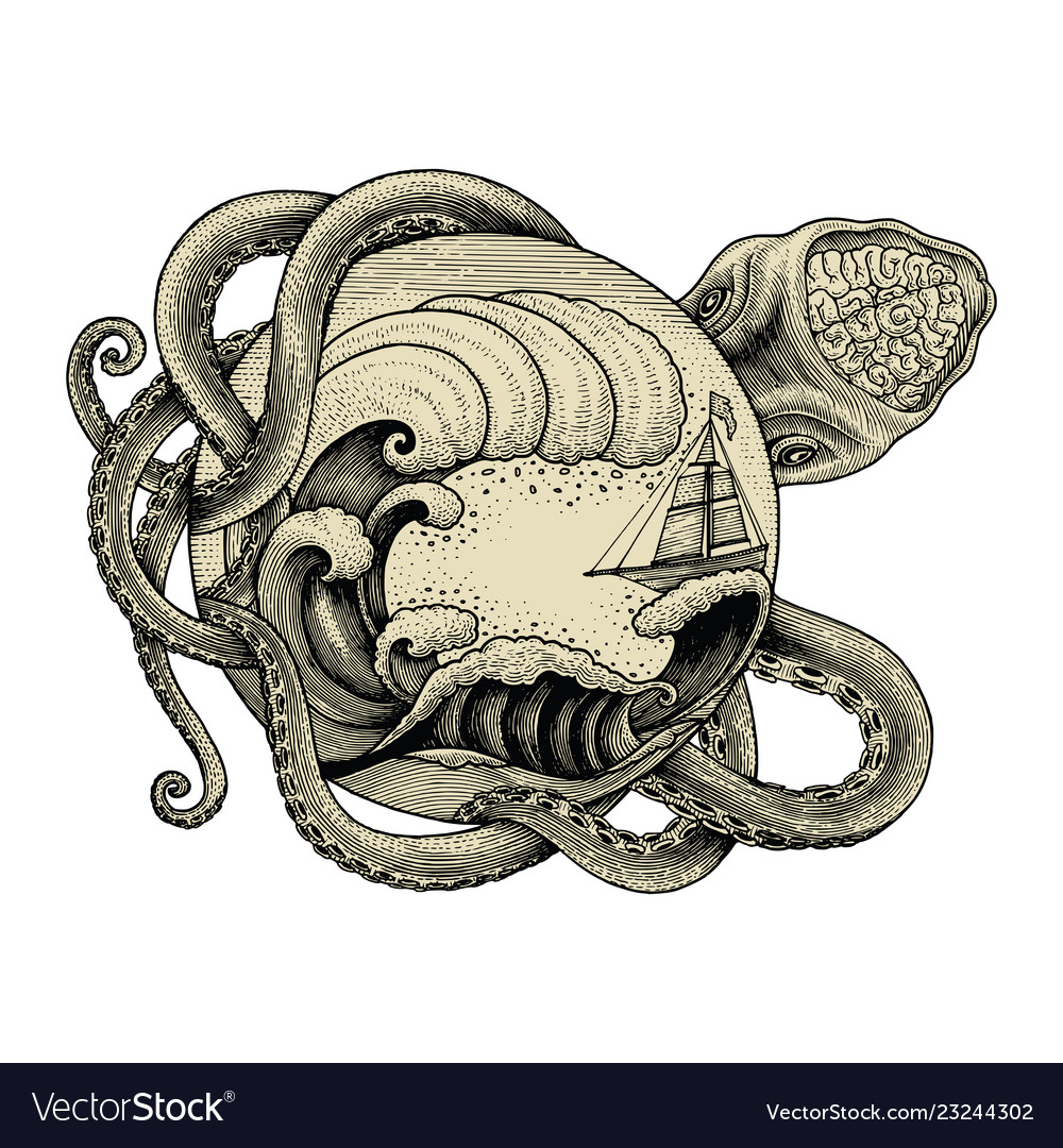 Giant octopus attacking ship and big ocean wave