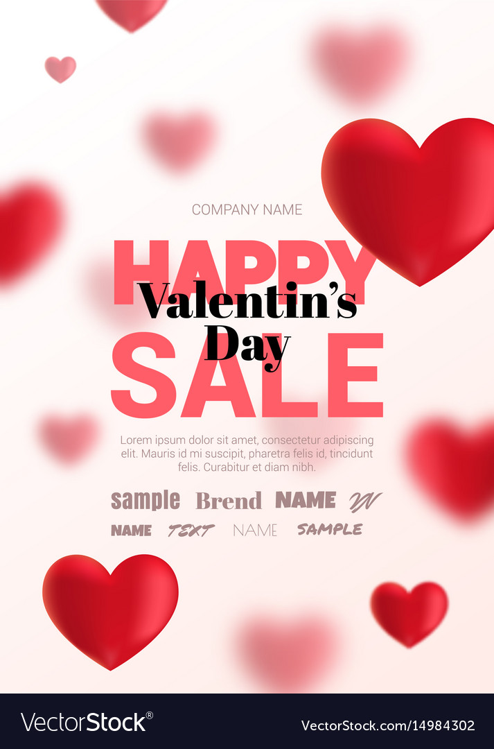 Modern poster with blurry hearts for sale