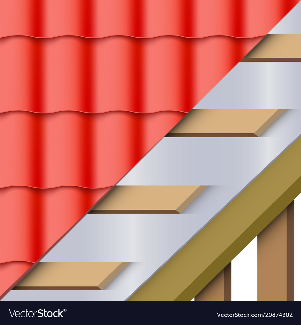 Red Ceramic Tiles Roofing Cover And Layers Vector Image