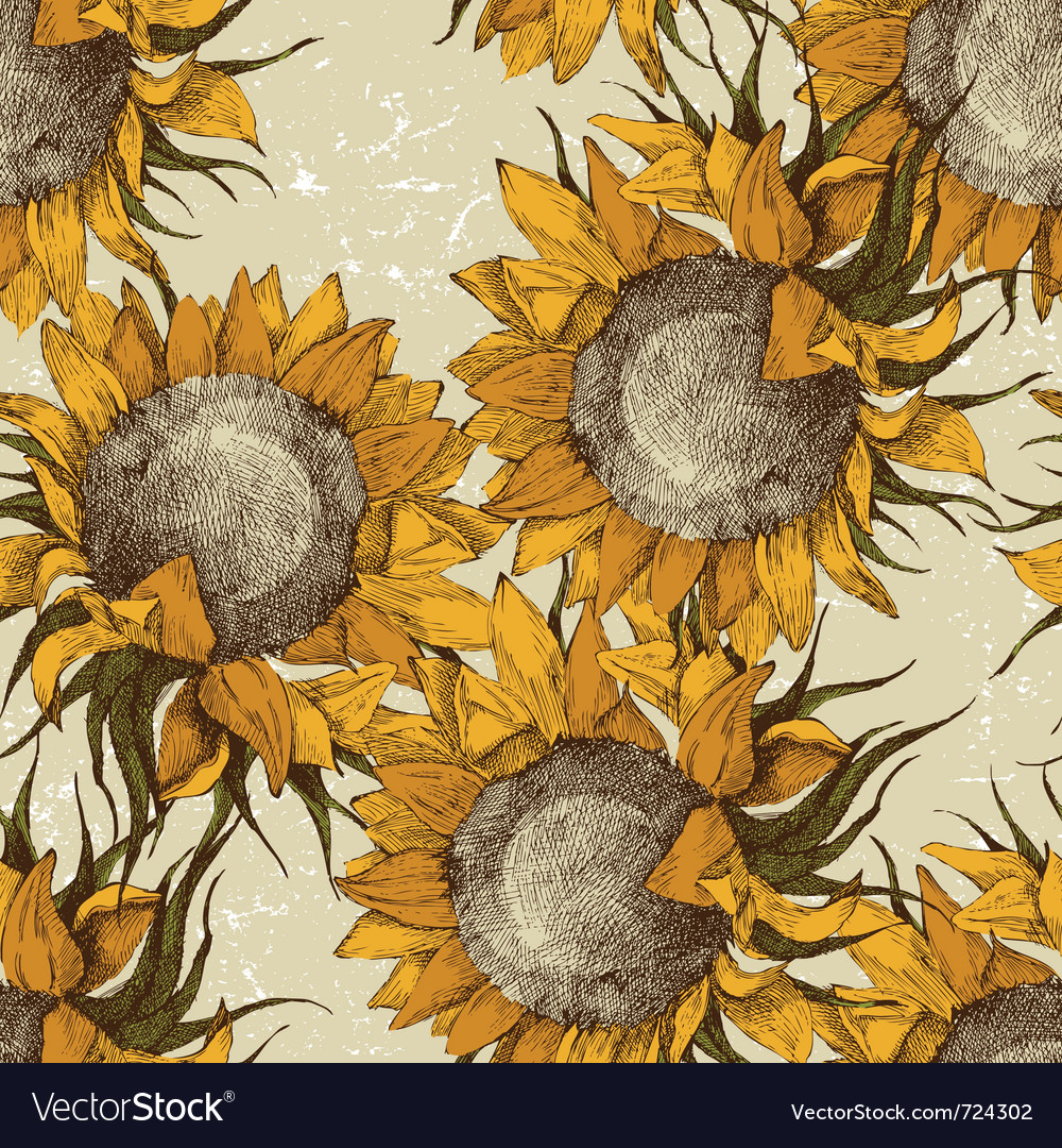 Seamless vintage sunflowers vector image