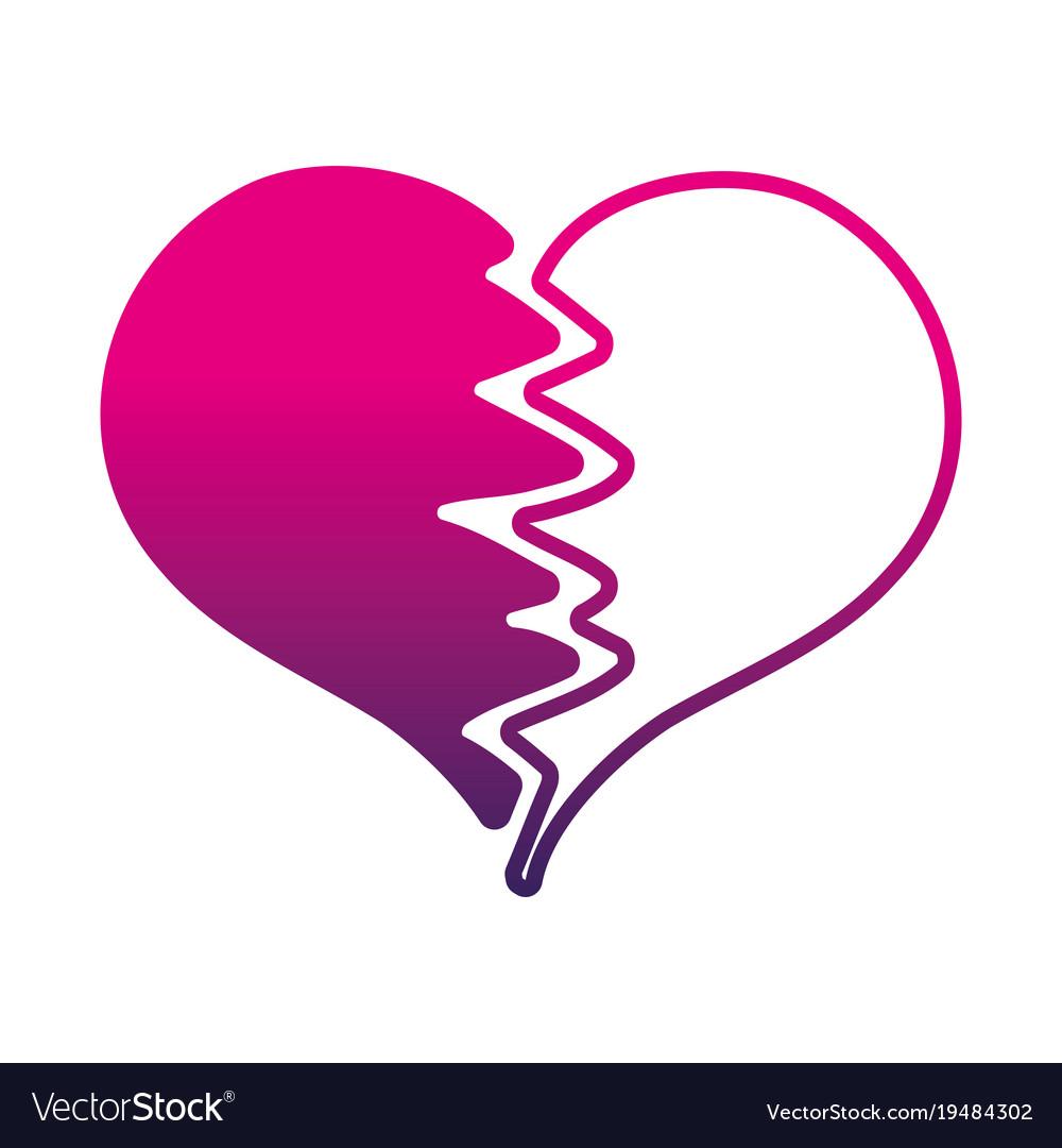 Silhouette Heart Symbol Of Love Broken Design Vector Image