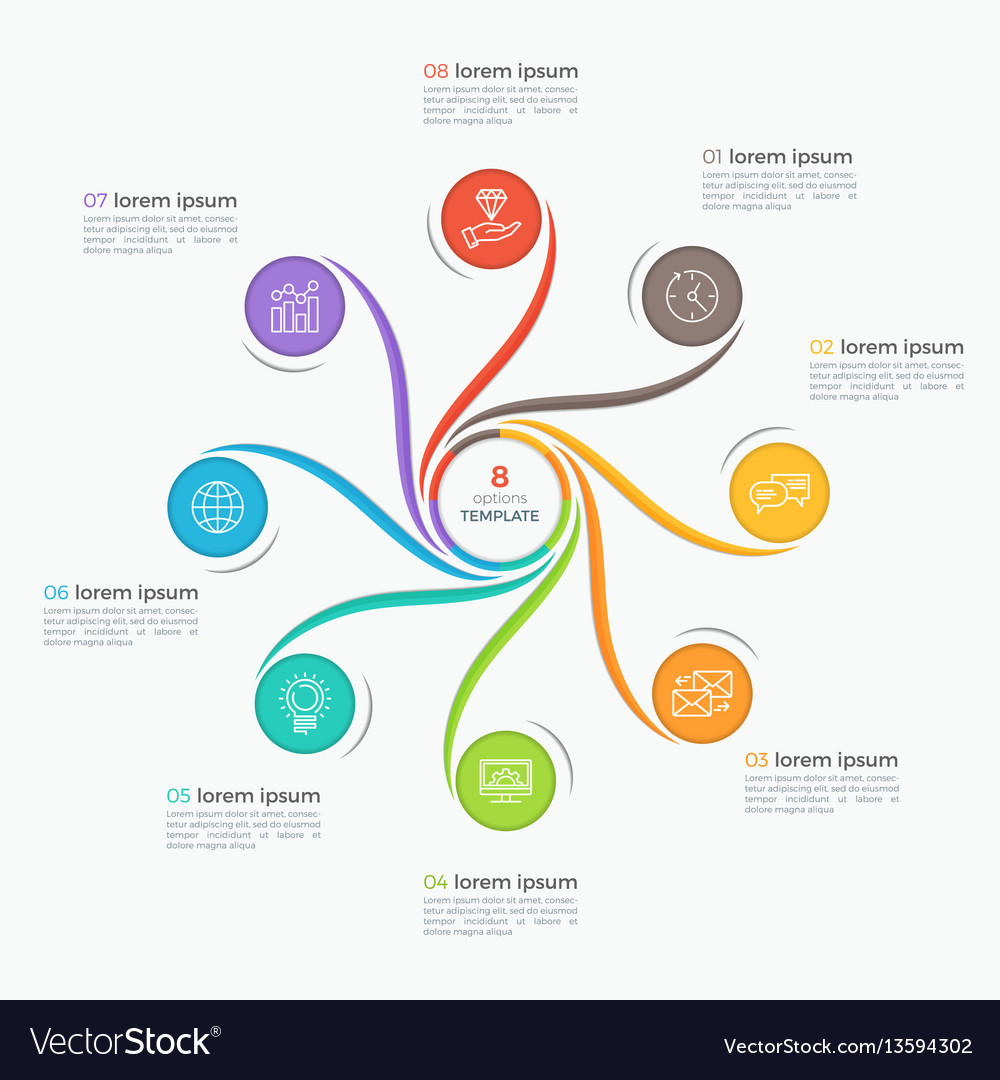Swirl style infographic template with 8 options vector image