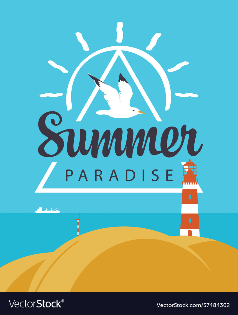Travel summer banner with seascape and lighthouse