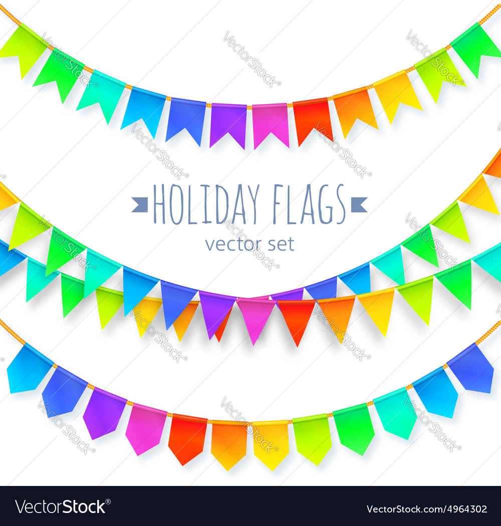 Vivid colors rainbow flags garlands set isolated