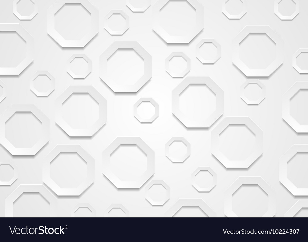 Abstract grey paper tech octagon shapes background