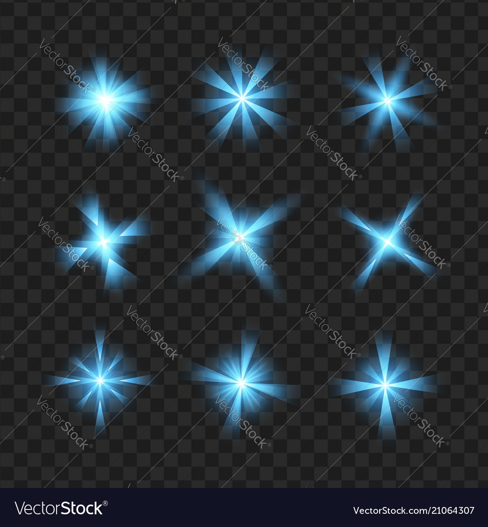 Blue glowing lights shape on black transparent b