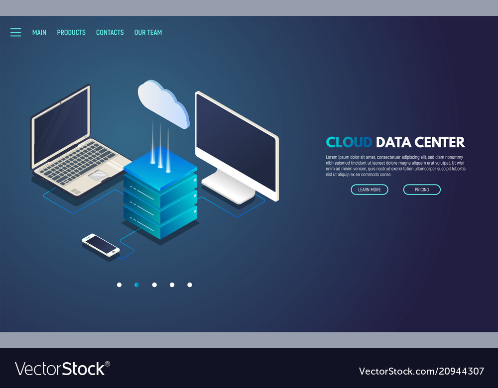 Cloud storage isometric banner