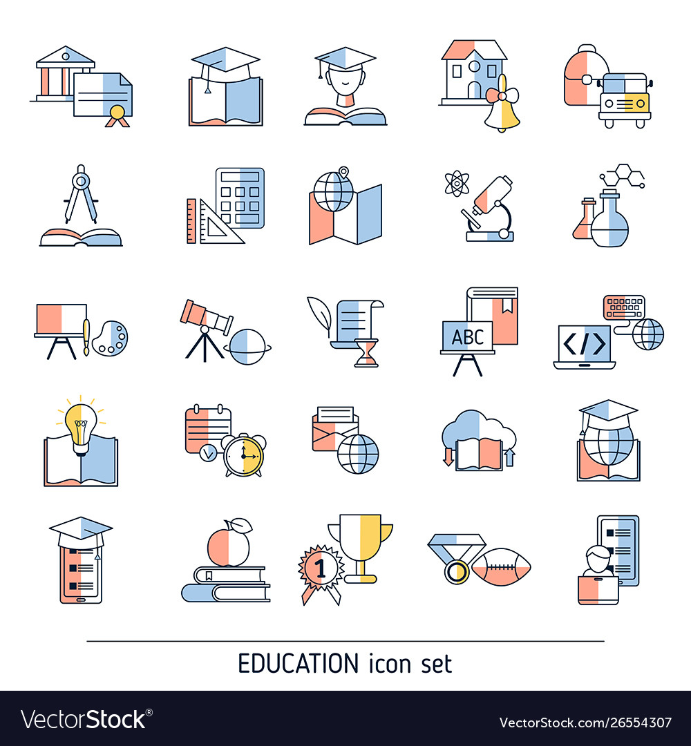 Collection education icons collection education