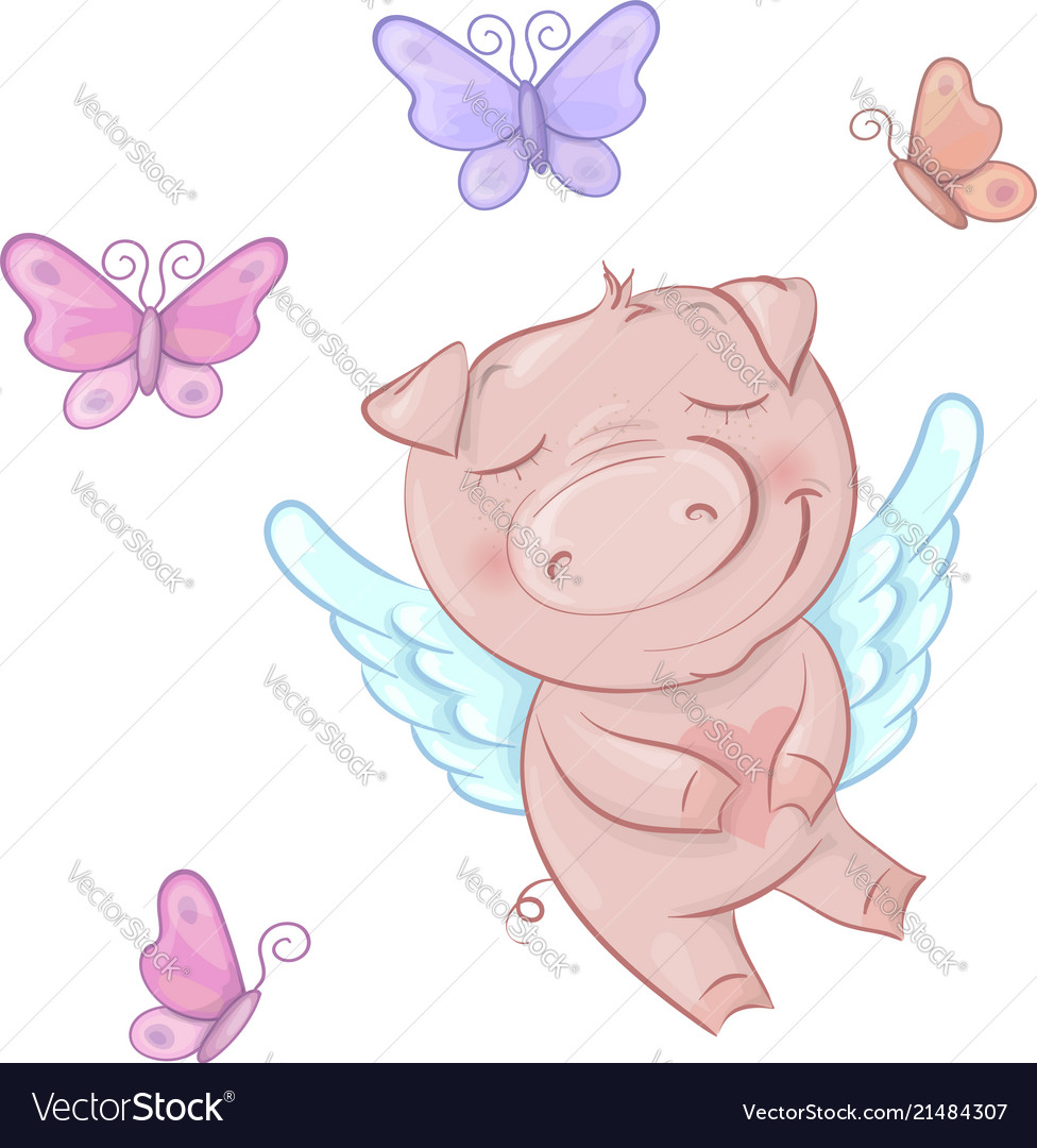 Cute pigs angels in cartoon style funny