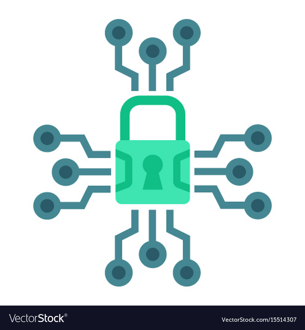 Cyber security flat icon padlock and security vector image