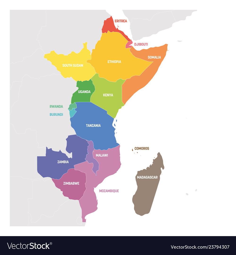 East Africa Map East africa region colorful map countries in Vector Image