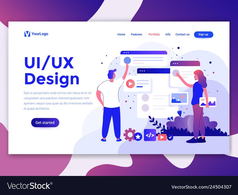 Flat modern design of website template - ui design