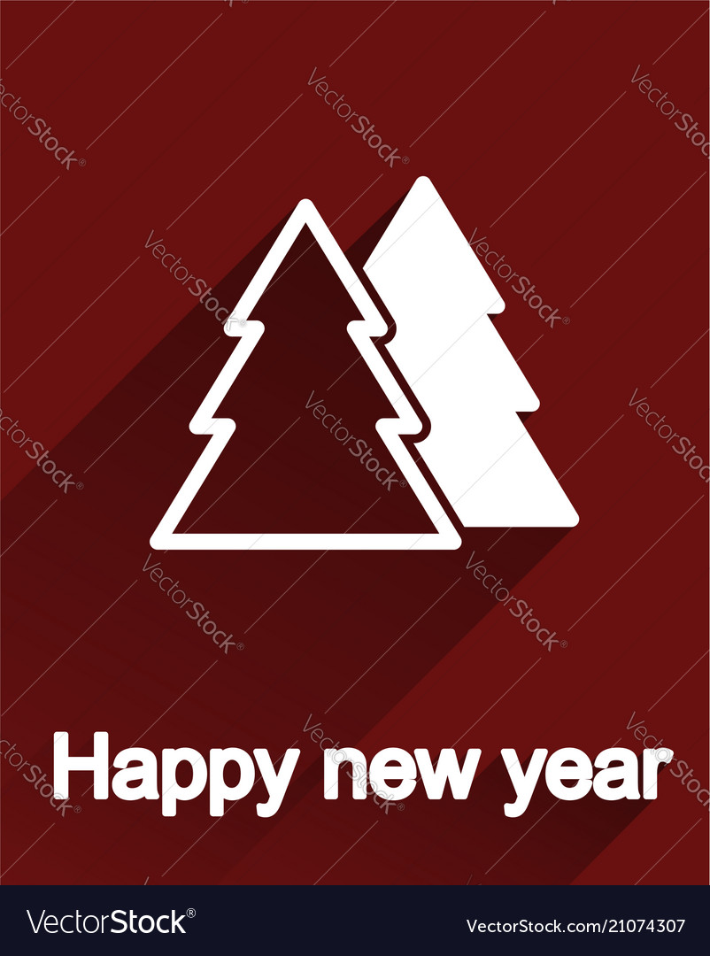 Flat new year tree postcard icon or label design
