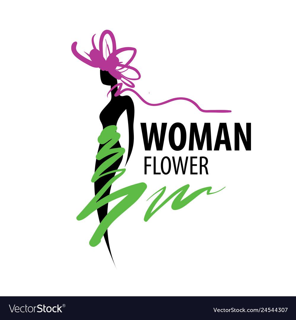 Girl logo in shape a flower