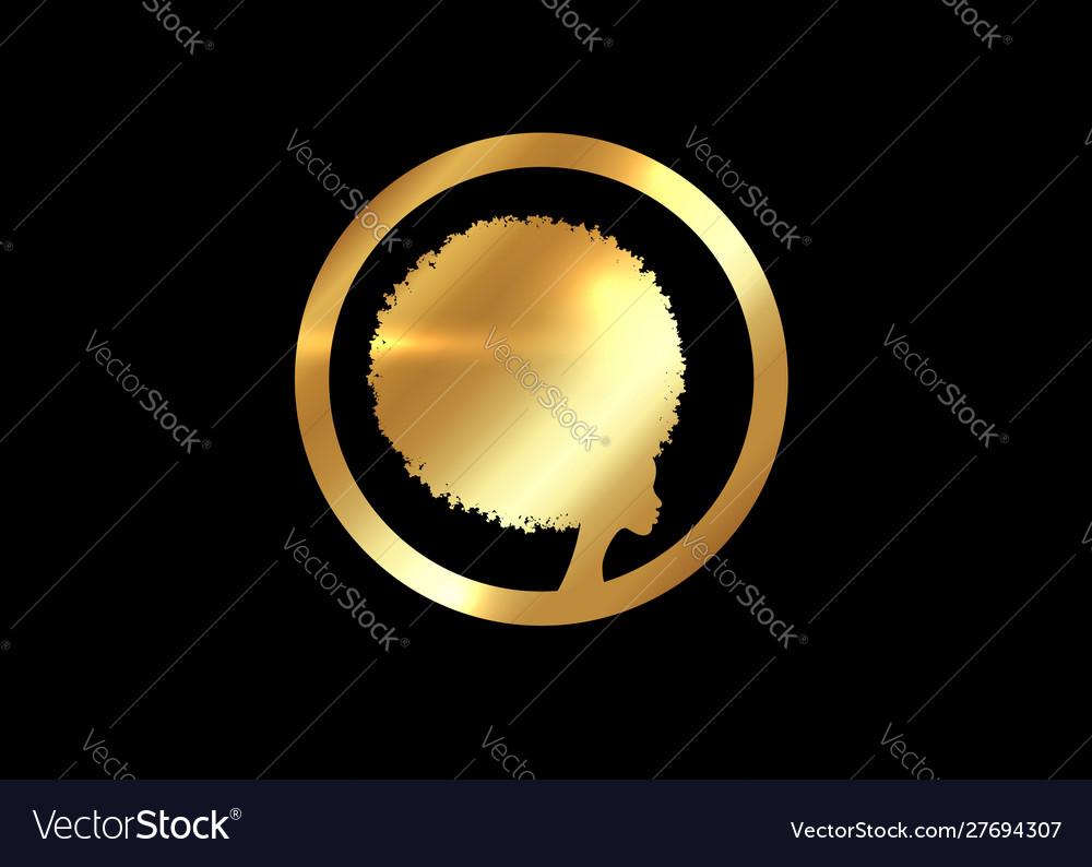 Gold luxury afro logo design golden diadem curly